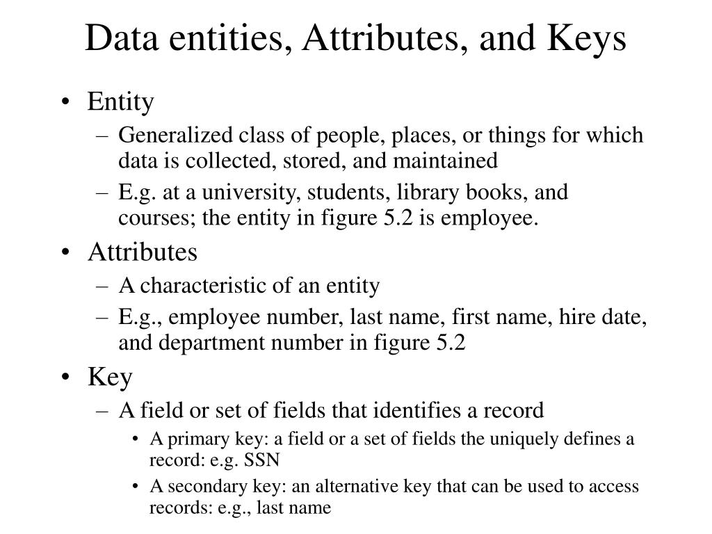 Data entities, Attributes, and Keys