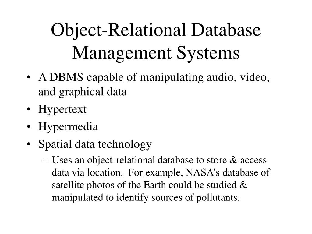 Object-Relational Database Management Systems