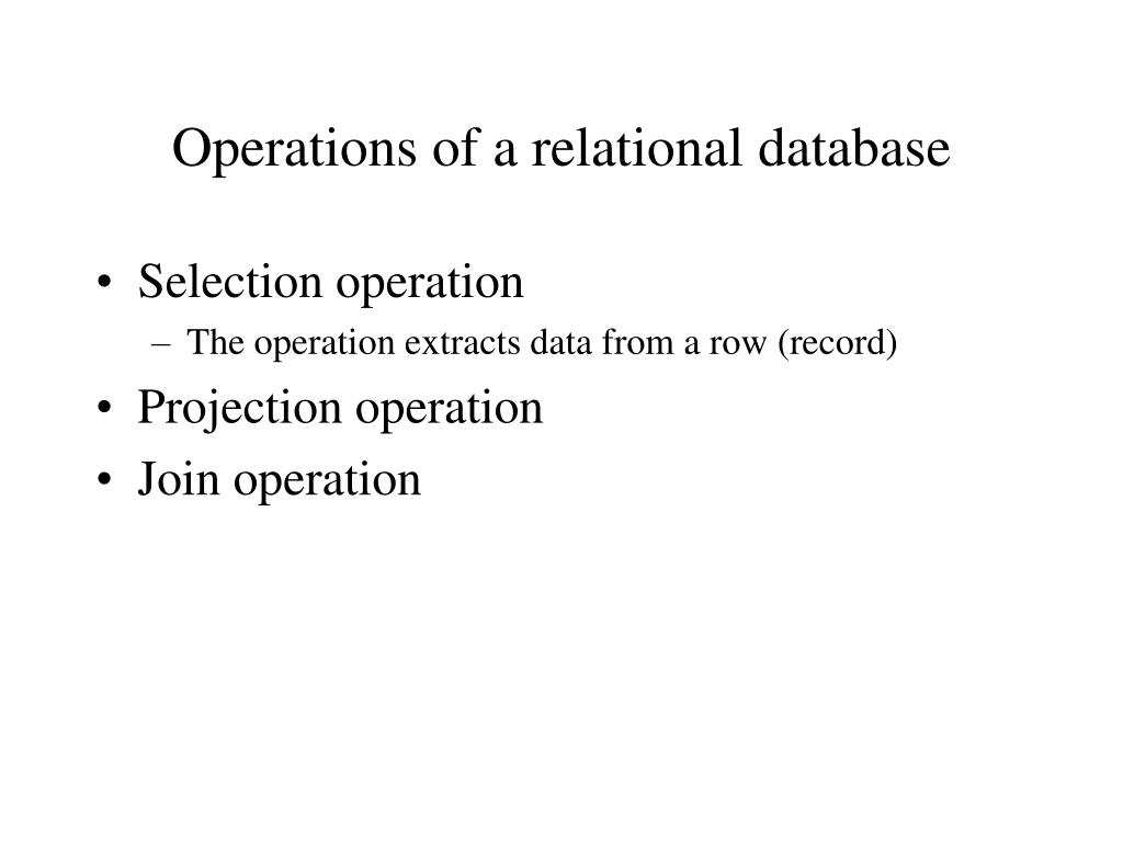Operations of a relational database