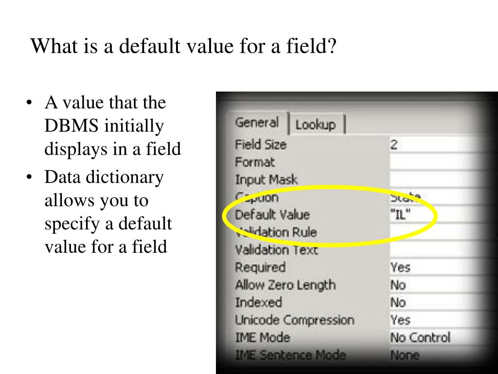 What is a default value for a field?