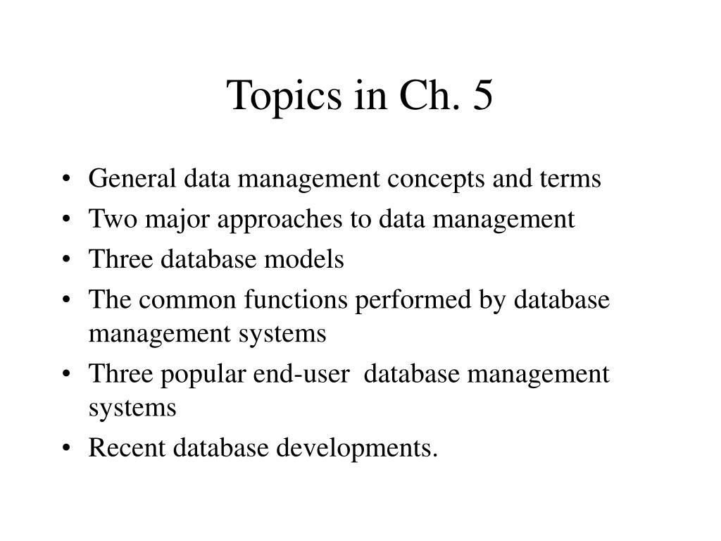 Topics in Ch. 5