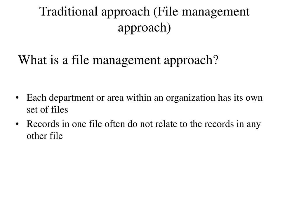 What is a file management approach?