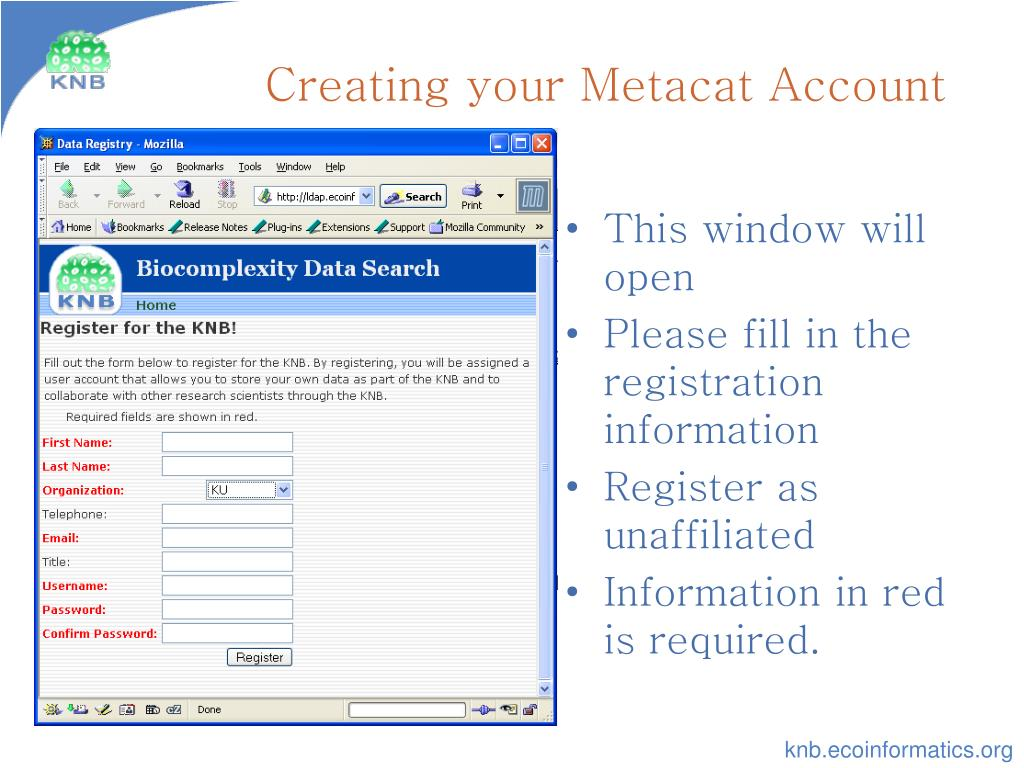 Creating your Metacat Account