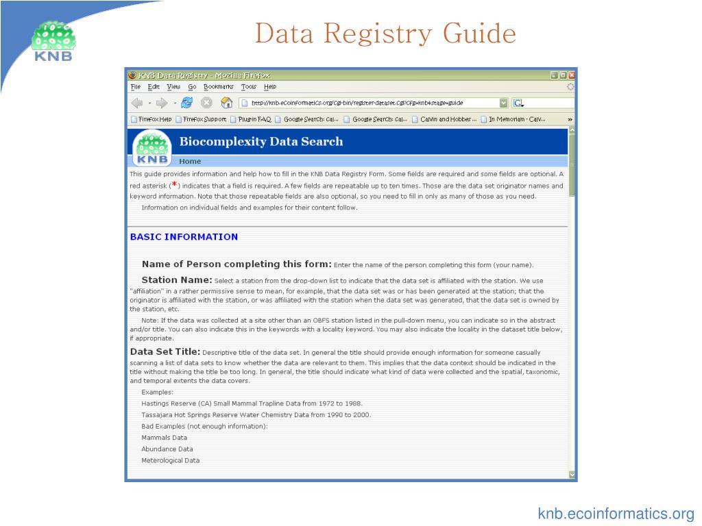 Data Registry Guide