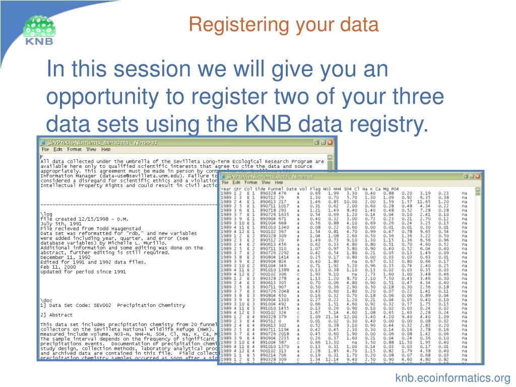 Registering your data