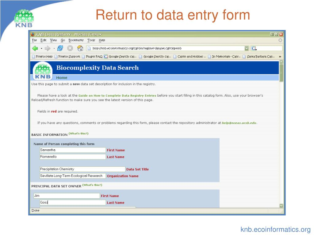 Return to data entry form