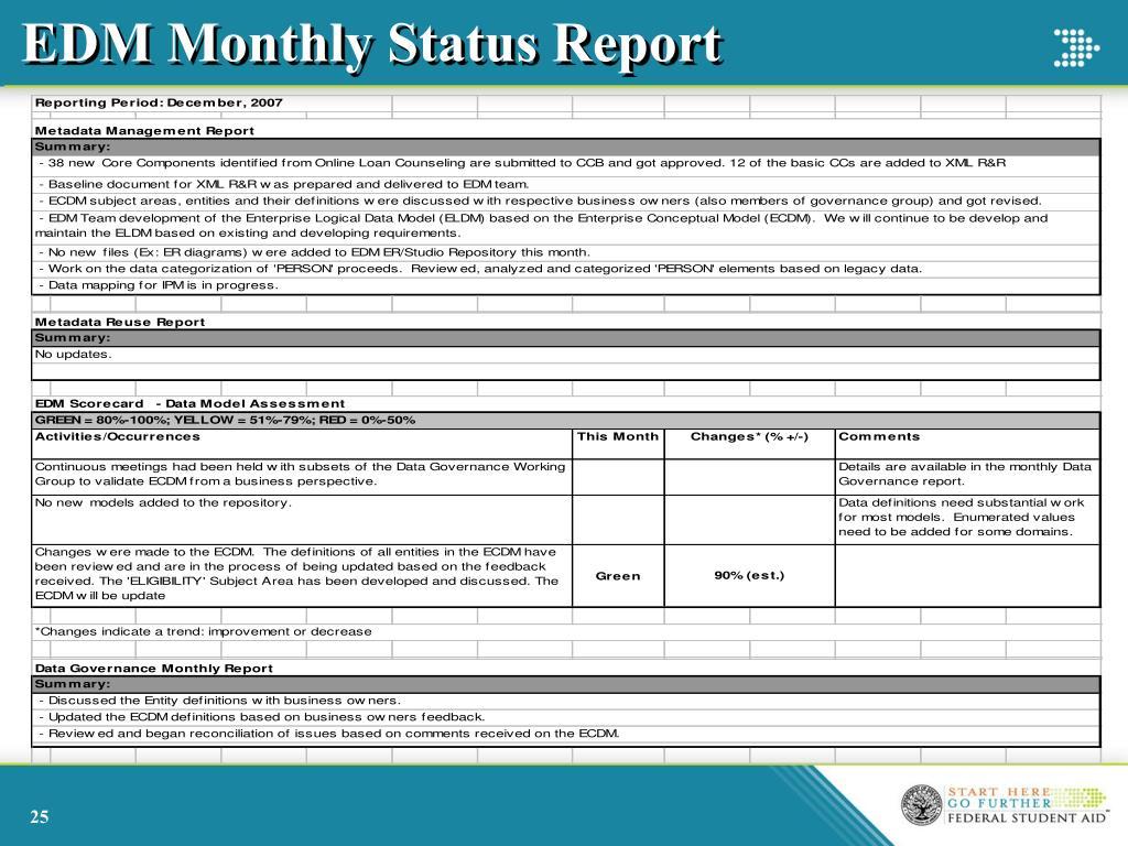 EDM Monthly Status Report