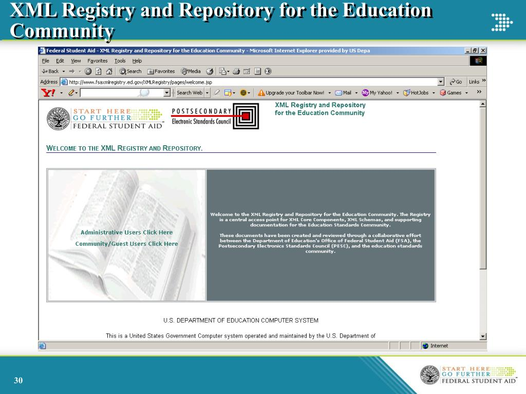 XML Registry and Repository for the Education Community