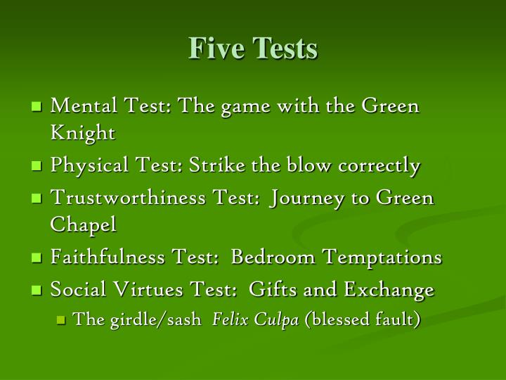 Five Tests