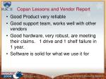 copan lessons and vendor report