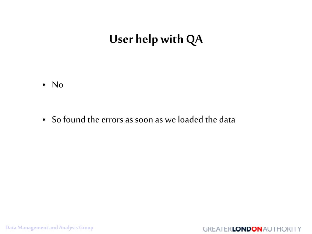 User help with QA