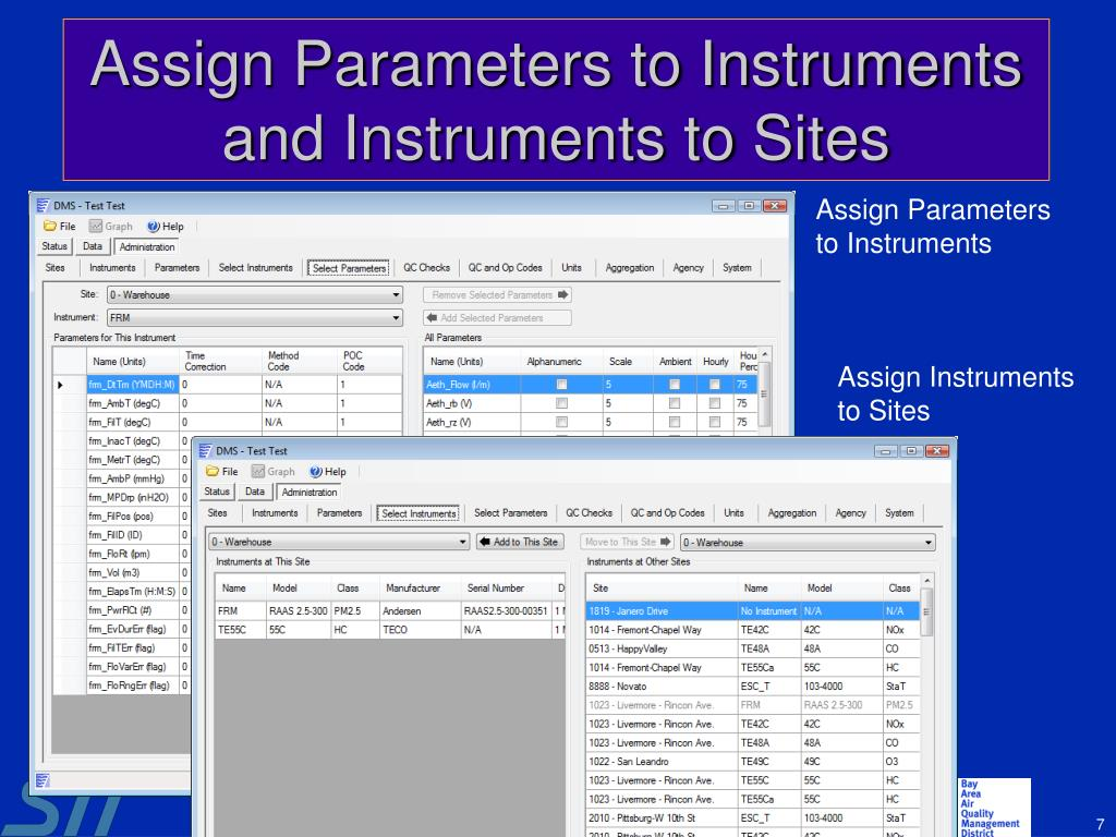 Assign Parameters to Instruments and Instruments to Sites