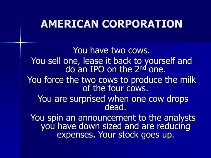 AMERICAN CORPORATION