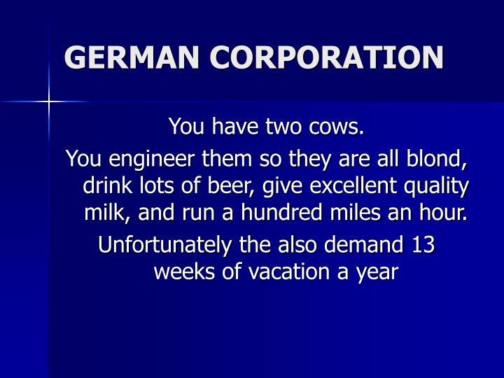 GERMAN CORPORATION