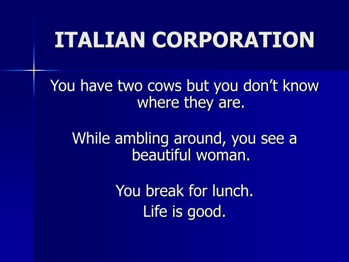ITALIAN CORPORATION