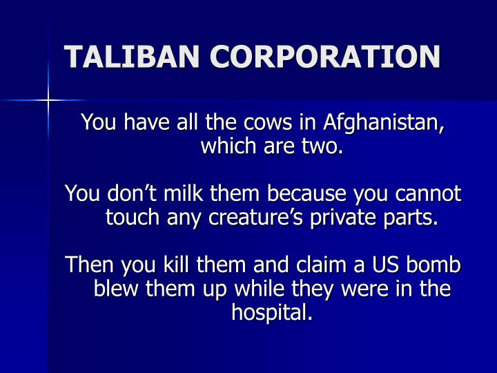 TALIBAN CORPORATION