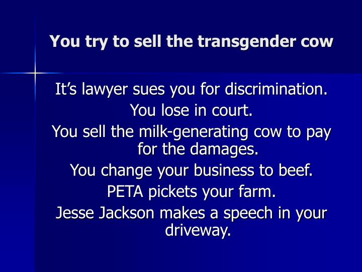 You try to sell the transgender cow