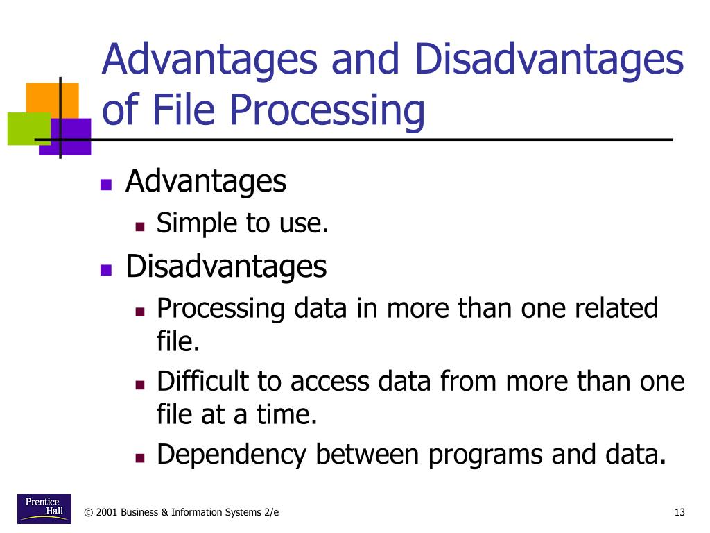 Advantages and Disadvantages of File Processing