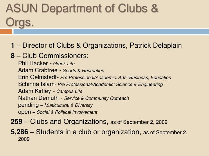 ASUN Department of Clubs & Orgs.