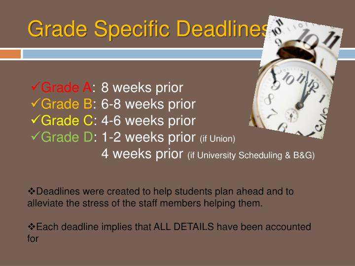 Grade Specific Deadlines
