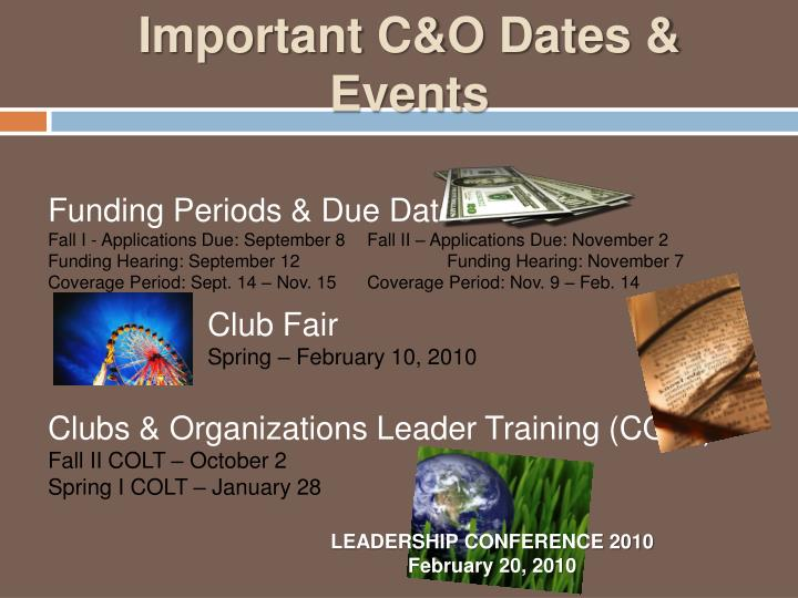 Important C&O Dates & Events