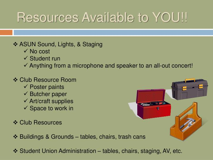 Resources Available to YOU!!