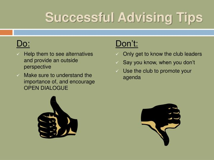 Successful Advising Tips