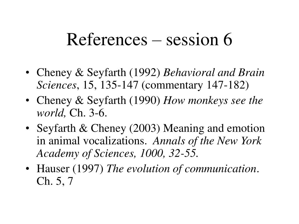 References – session 6