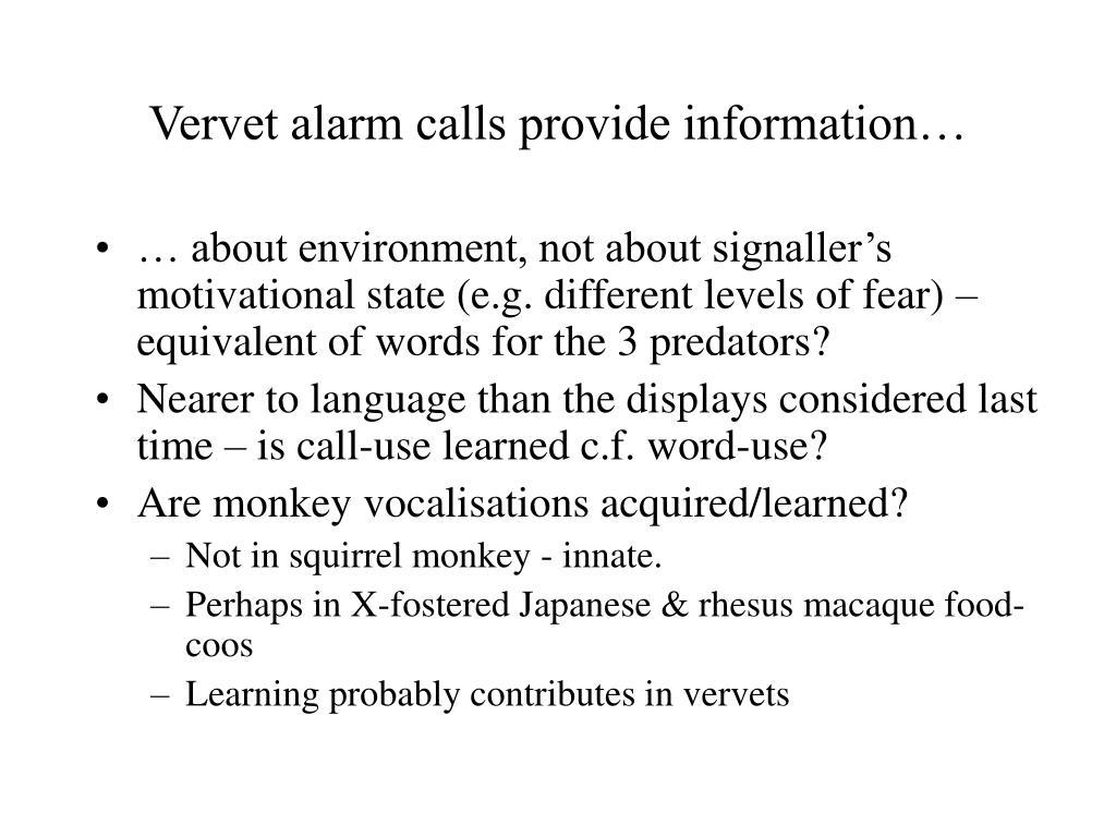 Vervet alarm calls provide information…