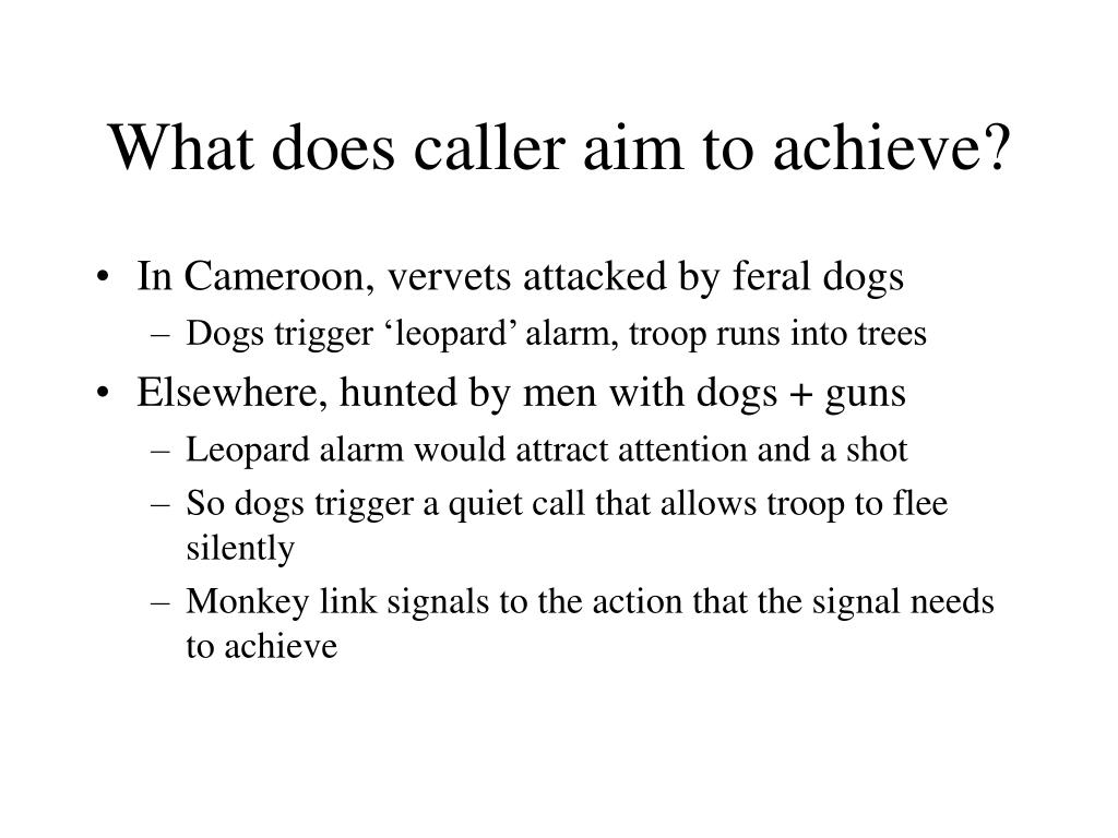 What does caller aim to achieve?