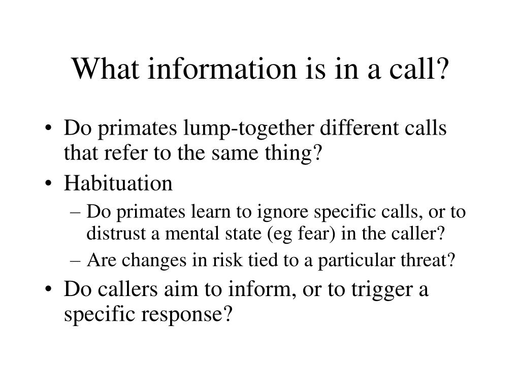 What information is in a call?