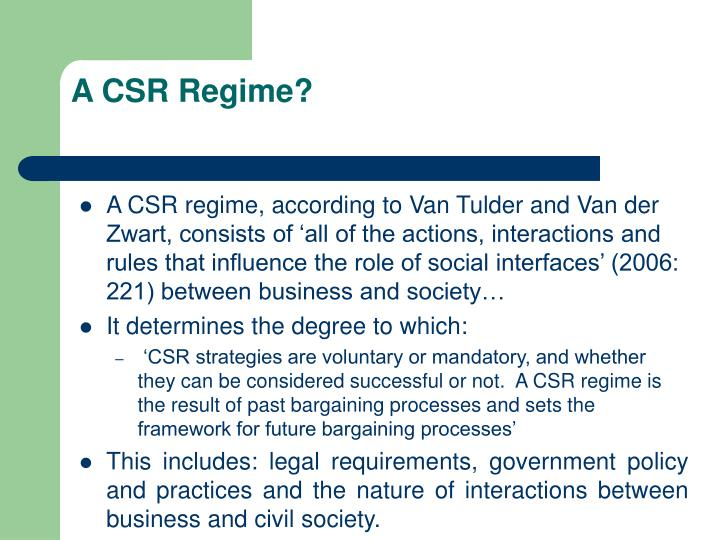 A CSR Regime?