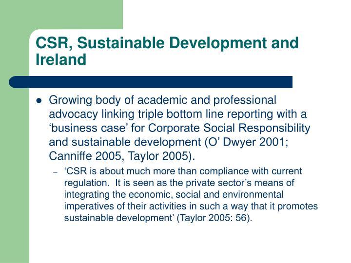 CSR, Sustainable Development and Ireland