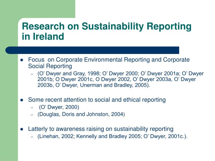 Research on sustainability reporting in ireland