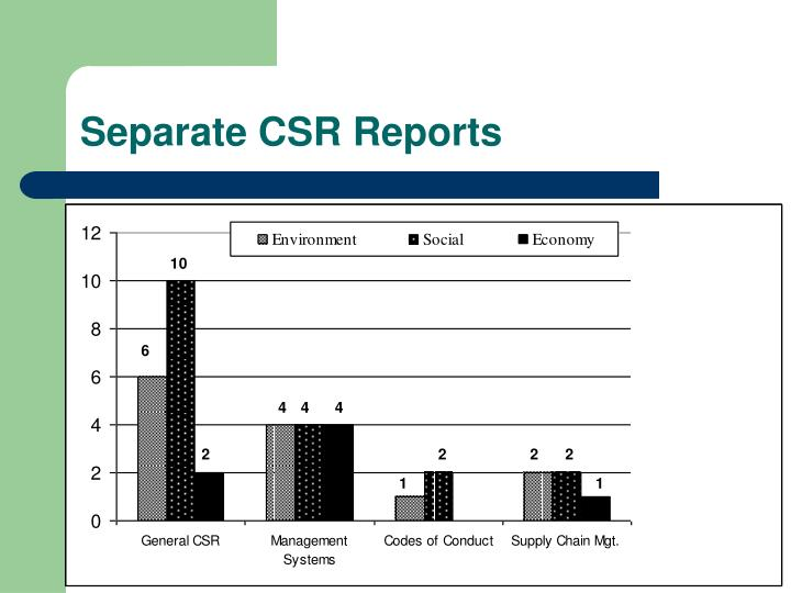 Separate CSR Reports