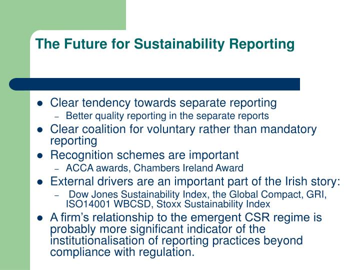 The Future for Sustainability Reporting