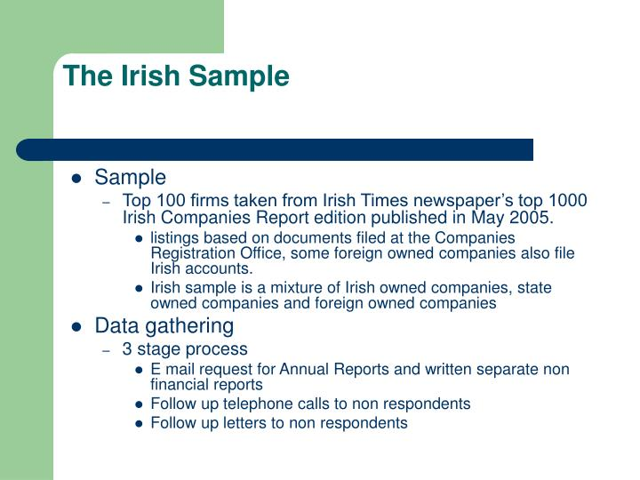 The Irish Sample