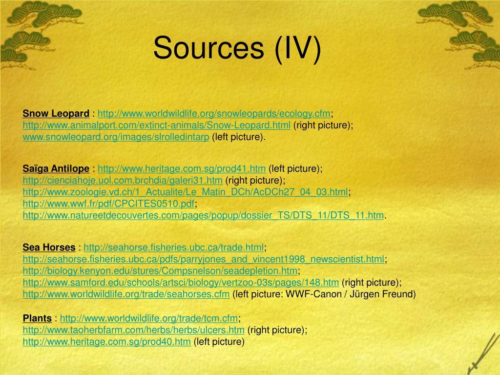 Sources (IV)