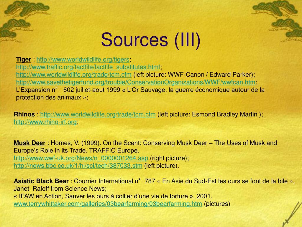 Sources (III)
