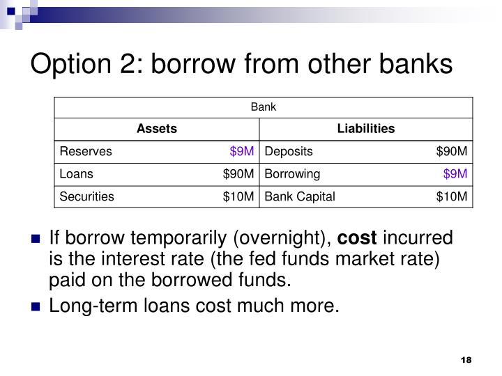 Option 2: borrow from other banks