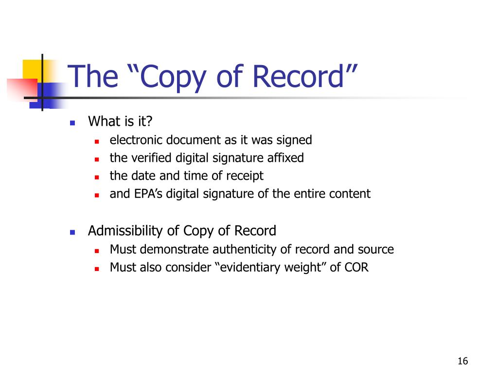 "The ""Copy of Record"""