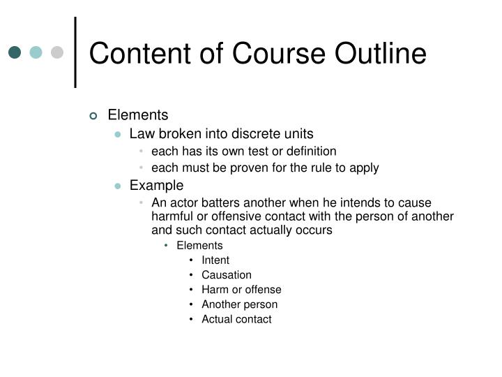 Content of Course Outline