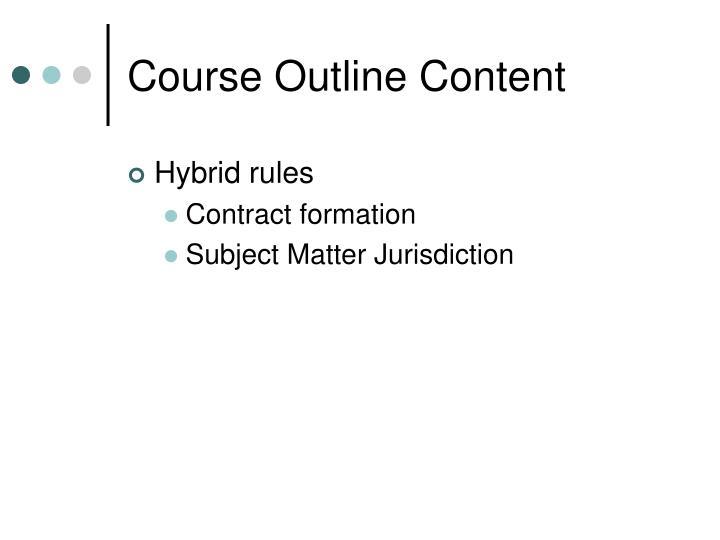 Course Outline Content
