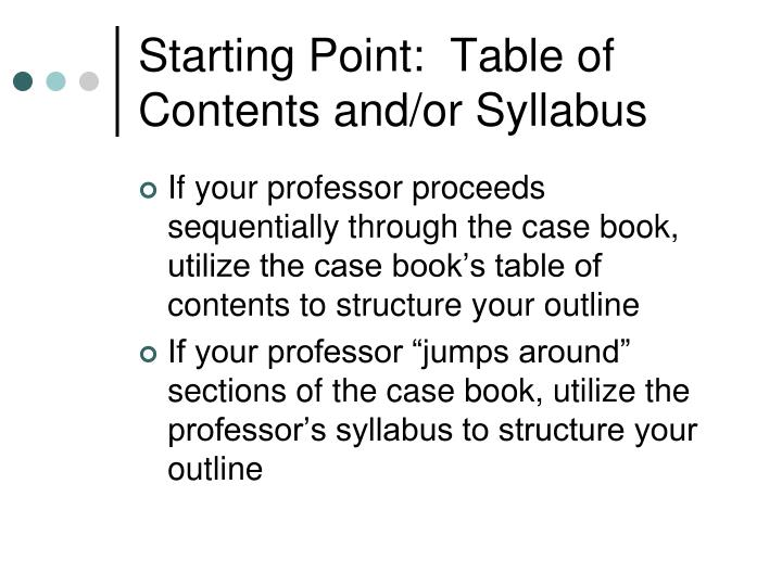 Starting Point:  Table of Contents and/or Syllabus