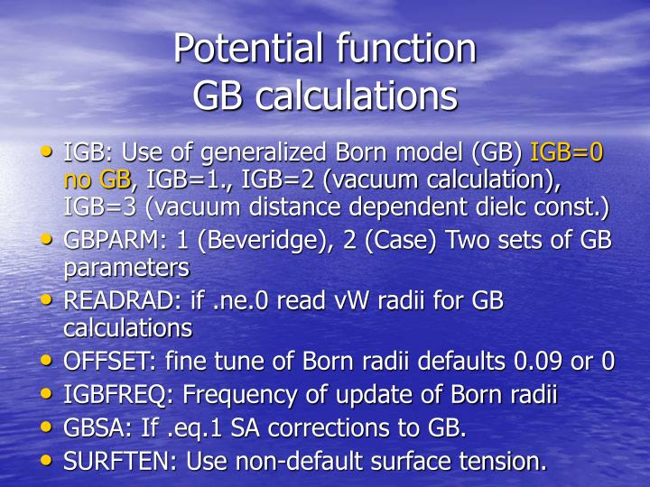 Potential function