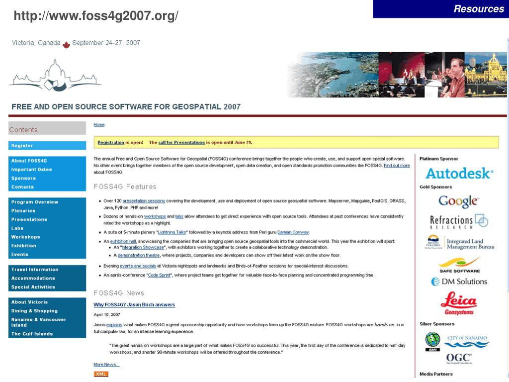 Free and Open Source Software for Geospatial 2007