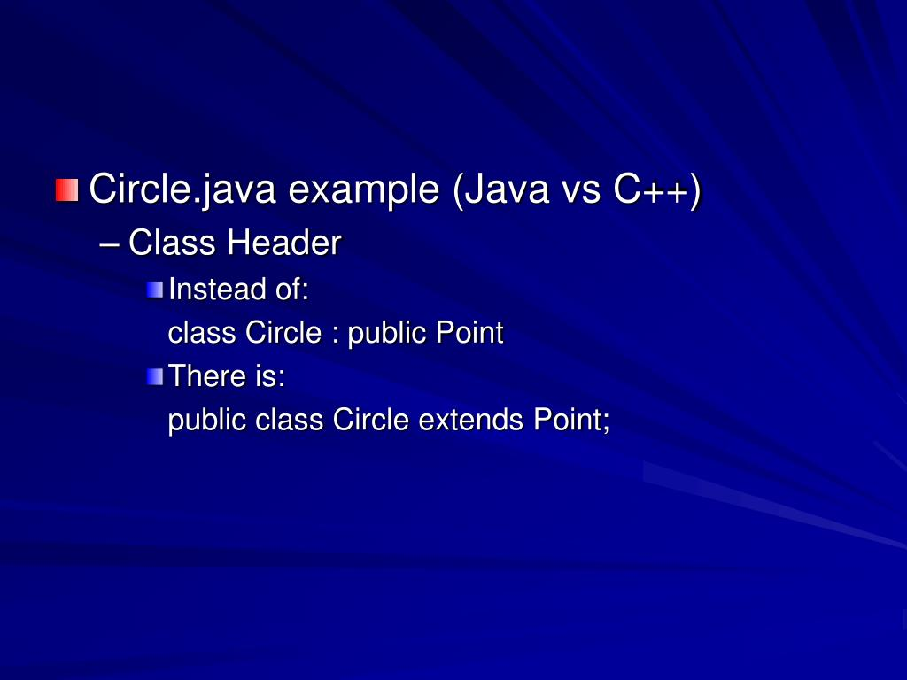 Circle.java example (Java vs C++)