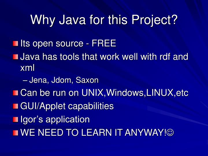 Why java for this project