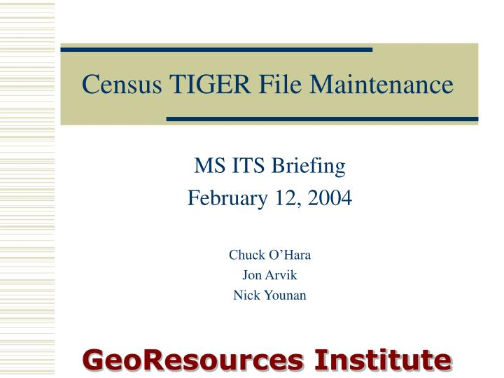 Census tiger file maintenance