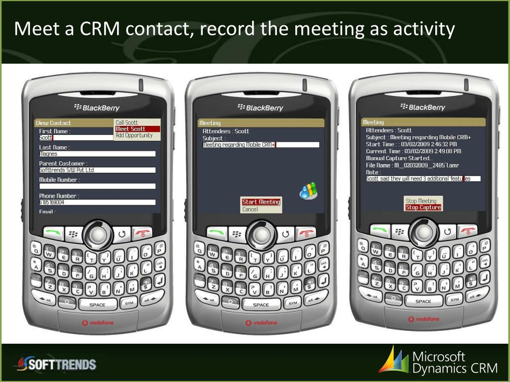 Meet a CRM contact, record the meeting as activity